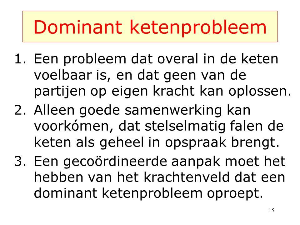 15 Dominant ketenprobleem 1.Een probleem dat overal in de keten voelbaar is, en dat geen van de partijen op eigen kracht kan oplossen.