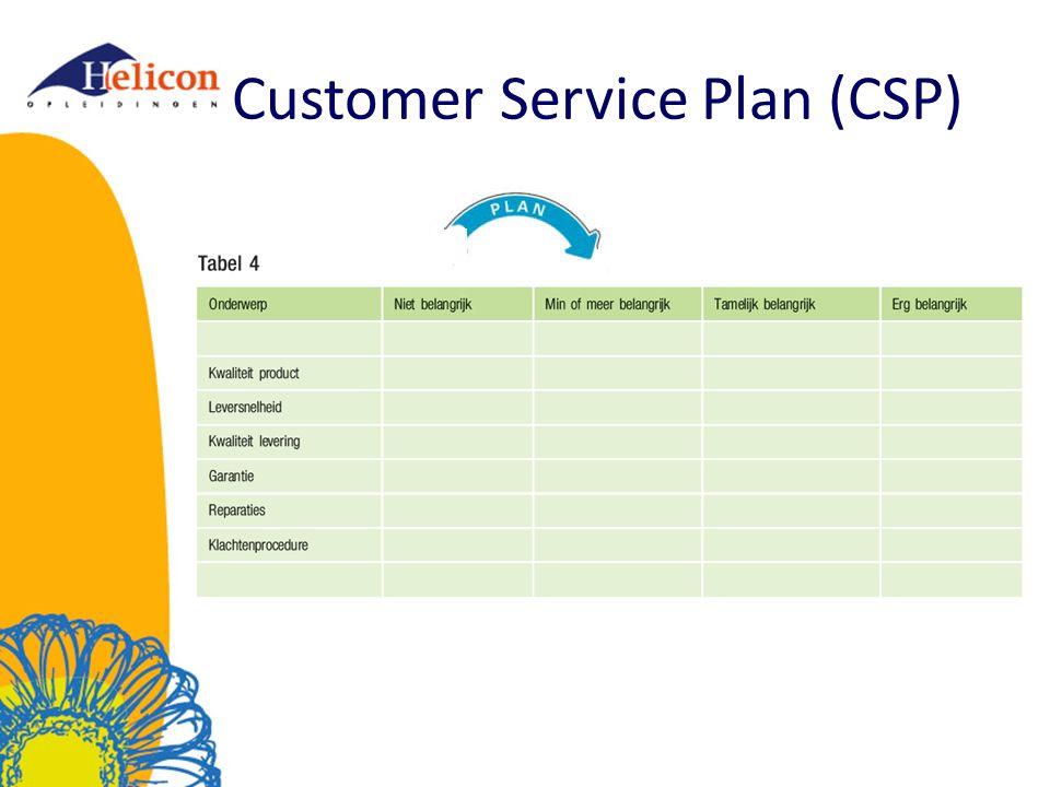 Customer Service Plan (CSP)