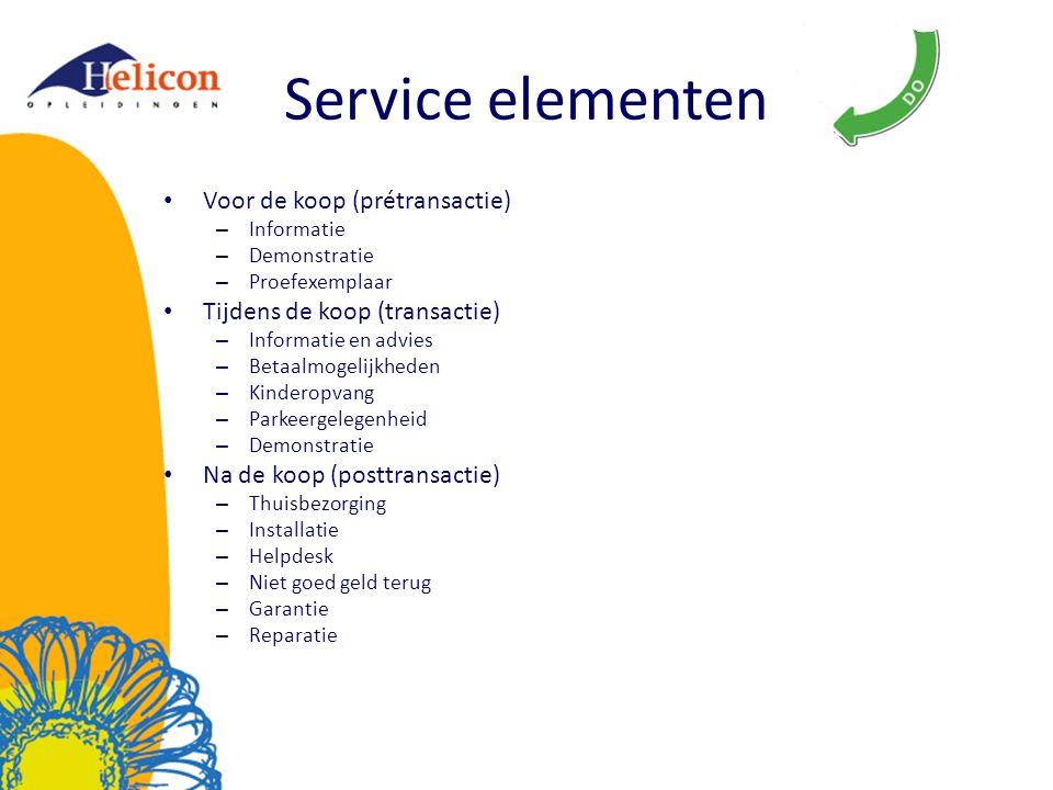 Service elementen Voor de koop (prétransactie) – Informatie – Demonstratie – Proefexemplaar Tijdens de koop (transactie) – Informatie en advies – Beta