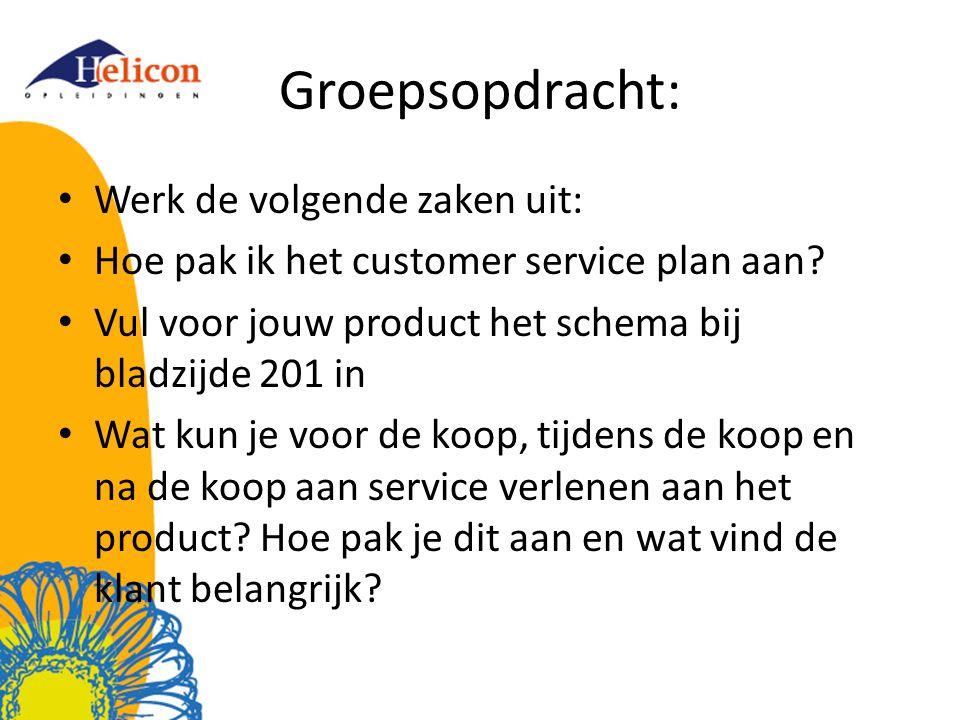 Groepsopdracht: Werk de volgende zaken uit: Hoe pak ik het customer service plan aan? Vul voor jouw product het schema bij bladzijde 201 in Wat kun je
