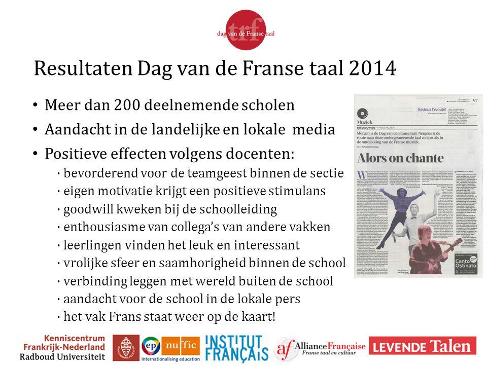 Resultaten Dag van de Franse taal 2014 Meer dan 200 deelnemende scholen Aandacht in de landelijke en lokale media Positieve effecten volgens docenten: