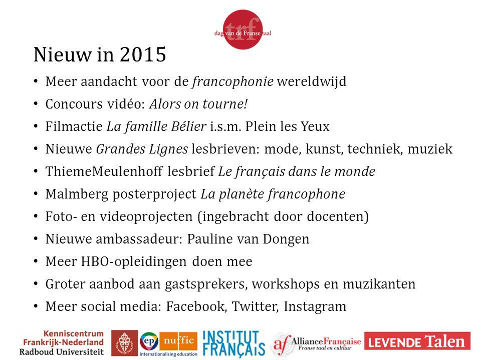 Nieuw in 2015 Meer aandacht voor de francophonie wereldwijd Concours vidéo: Alors on tourne! Filmactie La famille Bélier i.s.m. Plein les Yeux Nieuwe