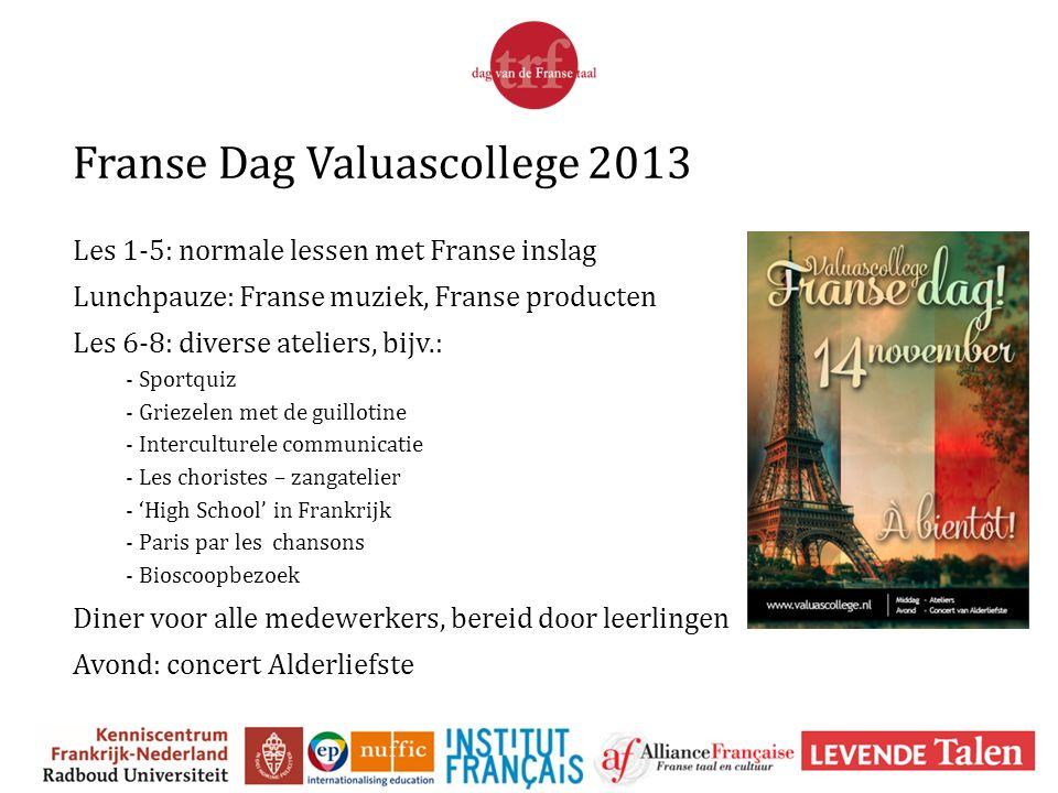 Franse Dag Valuascollege 2013 Les 1-5: normale lessen met Franse inslag Lunchpauze: Franse muziek, Franse producten Les 6-8: diverse ateliers, bijv.: