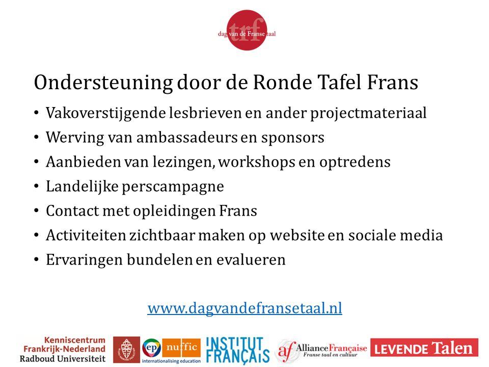 Ondersteuning door de Ronde Tafel Frans Vakoverstijgende lesbrieven en ander projectmateriaal Werving van ambassadeurs en sponsors Aanbieden van lezin