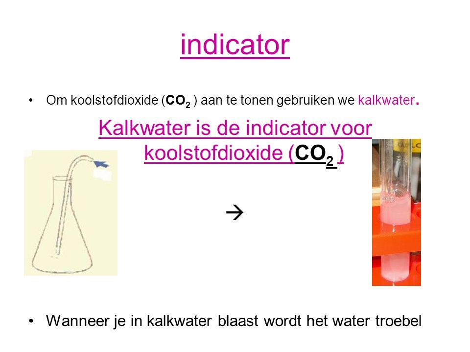 indicator Om koolstofdioxide (CO 2 ) aan te tonen gebruiken we kalkwater. Kalkwater is de indicator voor koolstofdioxide (CO 2 )  Wanneer je in kalkw
