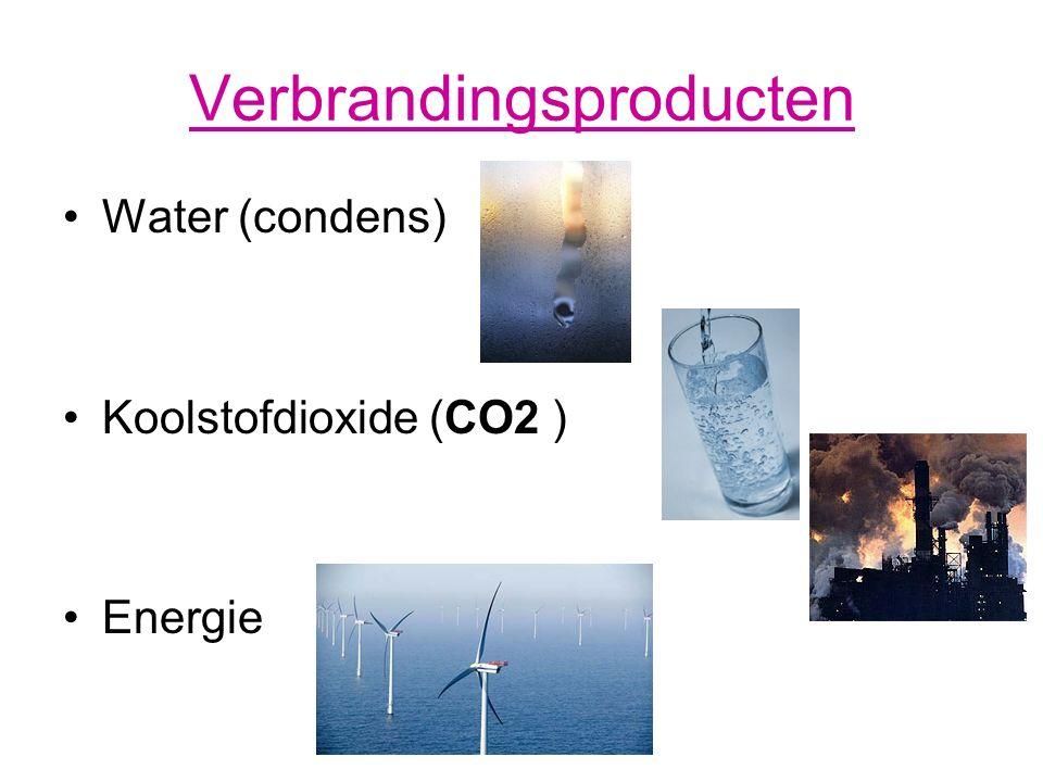 Verbrandingsproducten Water (condens) Koolstofdioxide (CO2 ) Energie