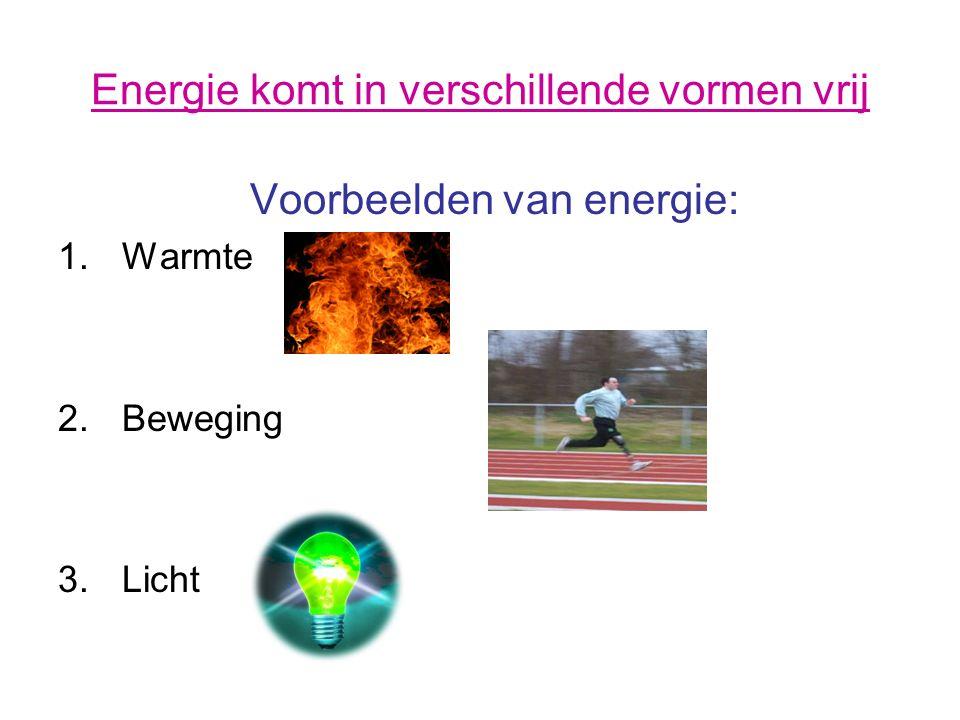 Energie komt in verschillende vormen vrij Voorbeelden van energie: 1.Warmte 2.Beweging 3.Licht