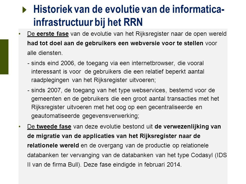 21 oktober 2015 Historiek van de evolutie van de informatica- infrastructuur bij het RRN De eerste fase van de evolutie van het Rijksregister naar de open wereld had tot doel aan de gebruikers een webversie voor te stellen voor alle diensten.