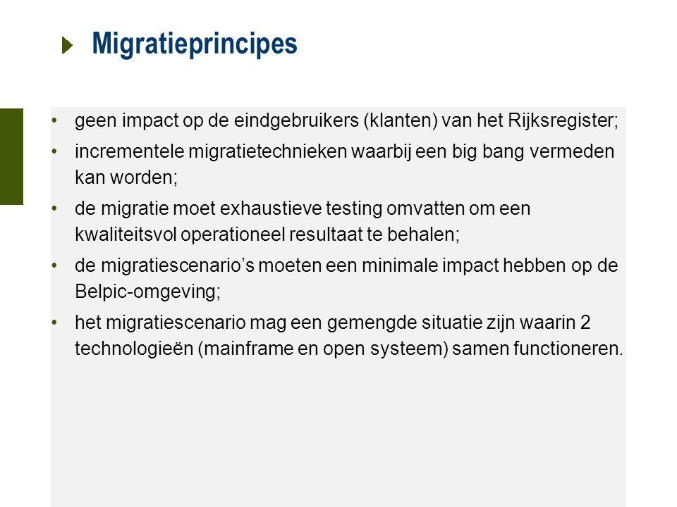 21 oktober 2015 Migratieprincipes geen impact op de eindgebruikers (klanten) van het Rijksregister; incrementele migratietechnieken waarbij een big bang vermeden kan worden; de migratie moet exhaustieve testing omvatten om een kwaliteitsvol operationeel resultaat te behalen; de migratiescenario's moeten een minimale impact hebben op de Belpic-omgeving; het migratiescenario mag een gemengde situatie zijn waarin 2 technologieën (mainframe en open systeem) samen functioneren.