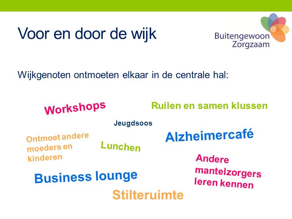 Voor en door de wijk Wijkgenoten ontmoeten elkaar in de centrale hal: Ontmoet andere moeders en kinderen Workshops Business lounge Lunchen Ruilen en s