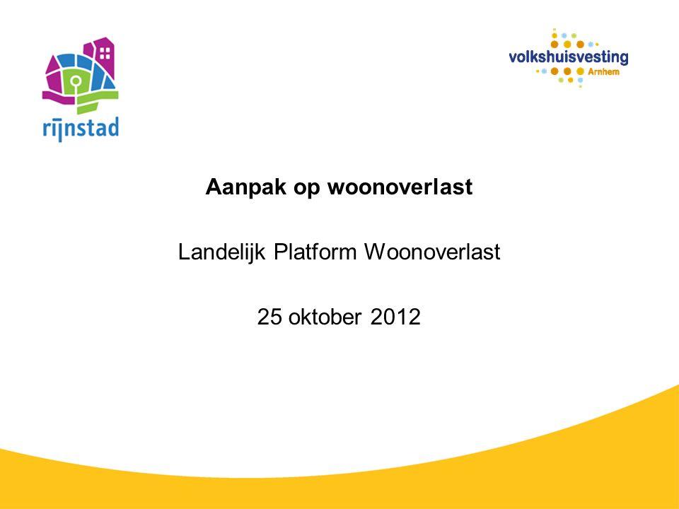 Aanpak op woonoverlast Landelijk Platform Woonoverlast 25 oktober 2012