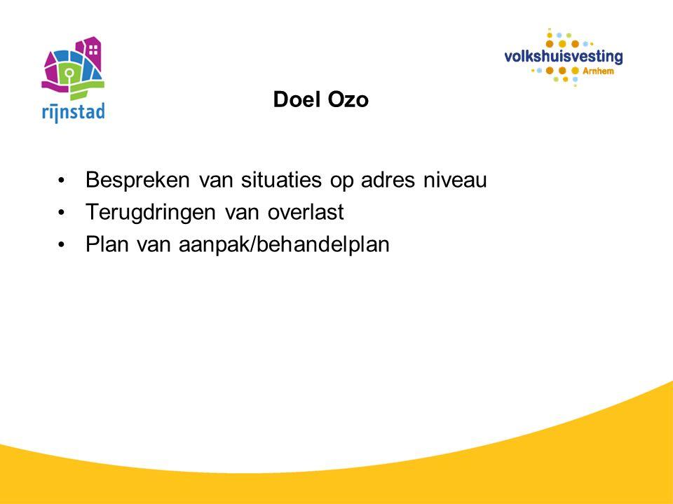 Doel Ozo Bespreken van situaties op adres niveau Terugdringen van overlast Plan van aanpak/behandelplan