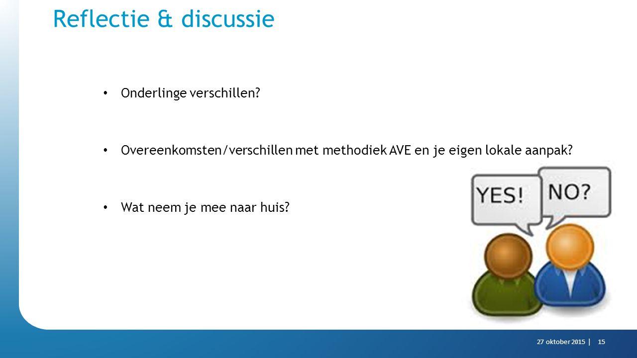 Reflectie & discussie Onderlinge verschillen? Overeenkomsten/verschillen met methodiek AVE en je eigen lokale aanpak? Wat neem je mee naar huis? 27 ok