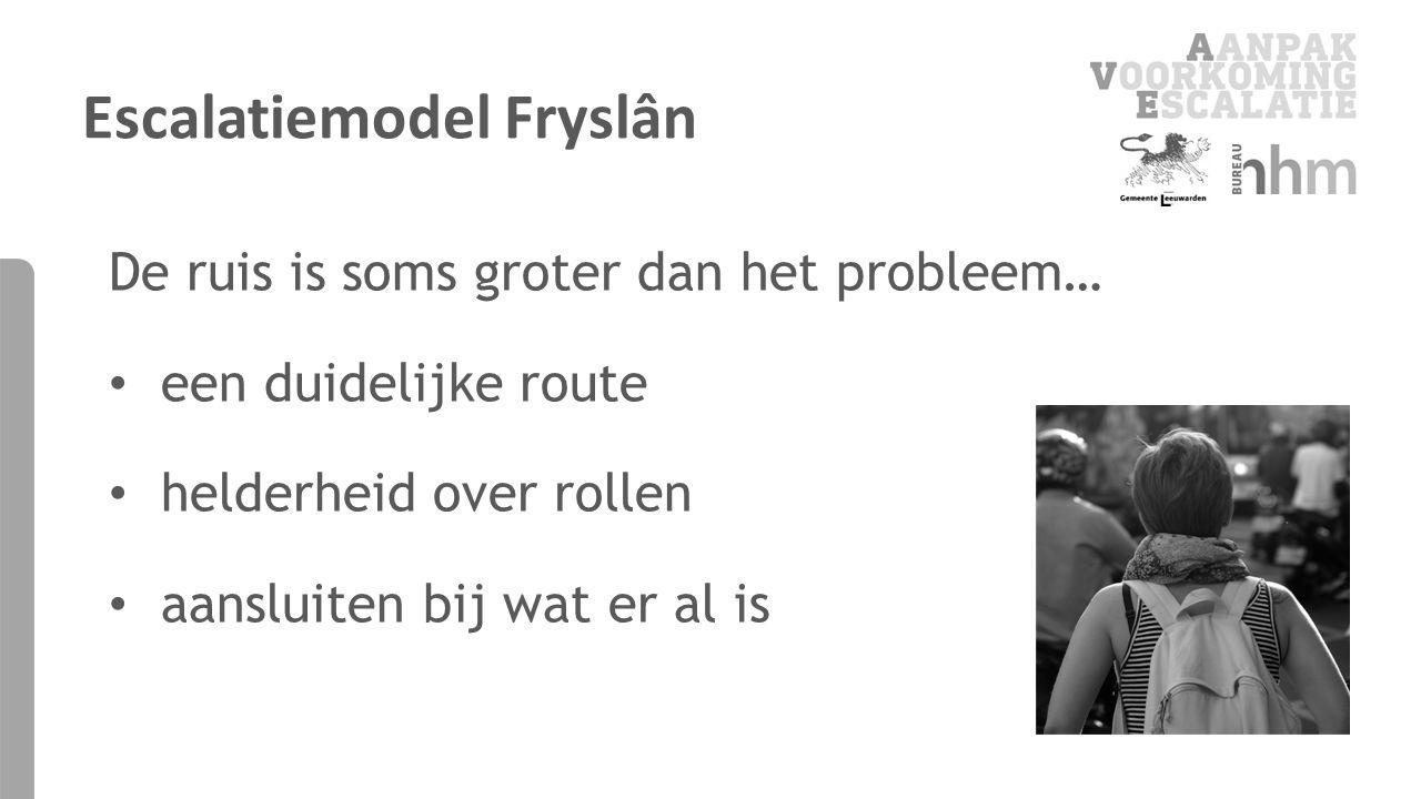 De ruis is soms groter dan het probleem… een duidelijke route helderheid over rollen aansluiten bij wat er al is Escalatiemodel Fryslân