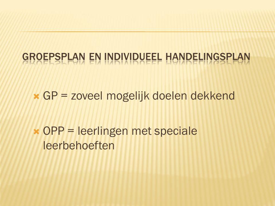  GP = zoveel mogelijk doelen dekkend  OPP = leerlingen met speciale leerbehoeften