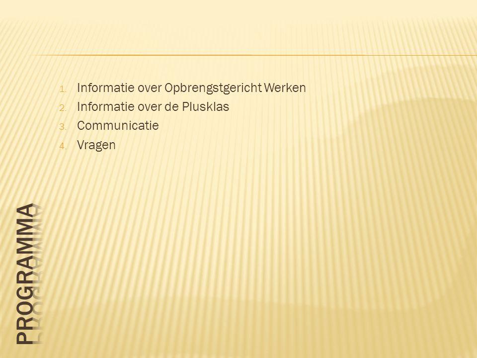 1. Informatie over Opbrengstgericht Werken 2. Informatie over de Plusklas 3. Communicatie 4. Vragen