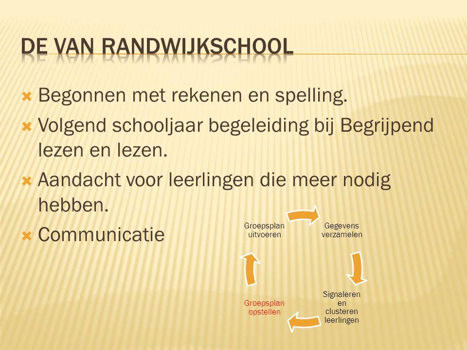 Begonnen met rekenen en spelling.  Volgend schooljaar begeleiding bij Begrijpend lezen en lezen.