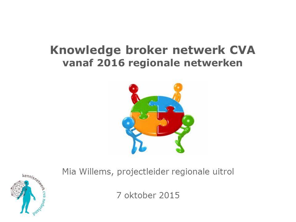 Knowledge broker netwerk CVA vanaf 2016 regionale netwerken Mia Willems, projectleider regionale uitrol 7 oktober 2015