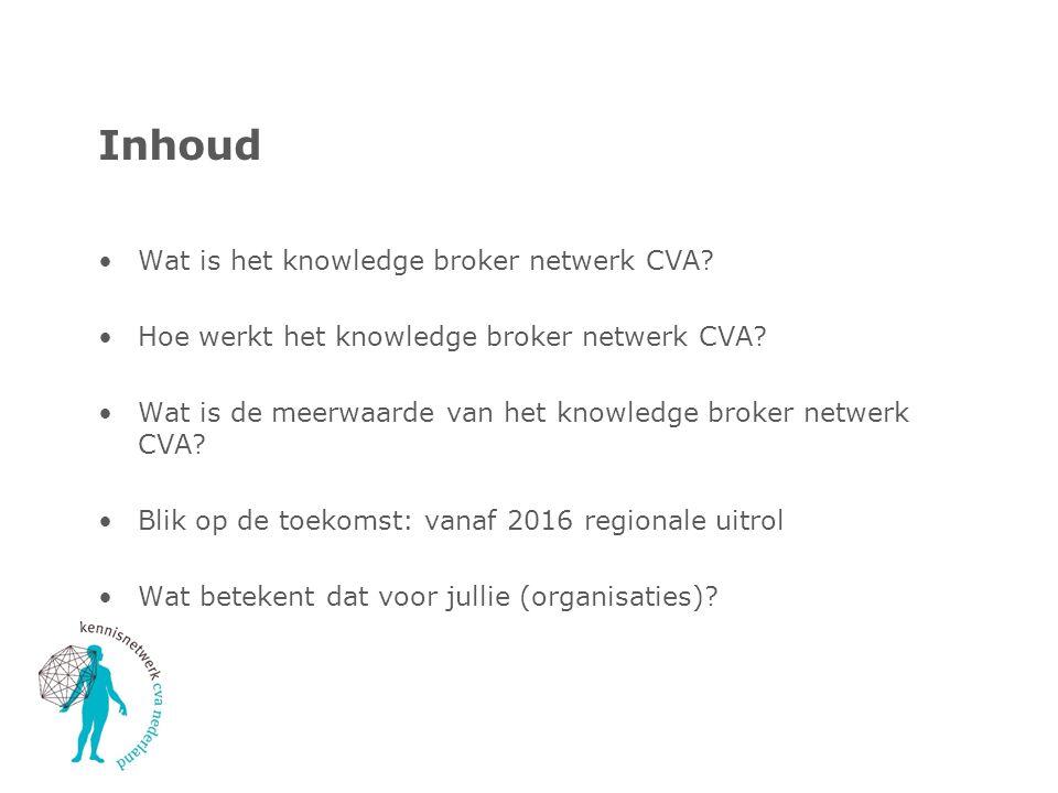 Inhoud Wat is het knowledge broker netwerk CVA? Hoe werkt het knowledge broker netwerk CVA? Wat is de meerwaarde van het knowledge broker netwerk CVA?