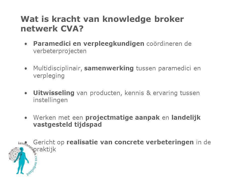 Wat is kracht van knowledge broker netwerk CVA? Paramedici en verpleegkundigen coördineren de verbeterprojecten Multidisciplinair, samenwerking tussen