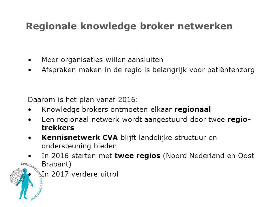 Regionale knowledge broker netwerken Meer organisaties willen aansluiten Afspraken maken in de regio is belangrijk voor patiëntenzorg Daarom is het pl