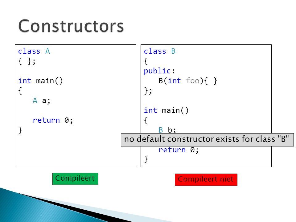 class A { }; int main() { A a; return 0; } class B { public: B(int foo){ } }; int main() { B b; return 0; } no default constructor exists for class B Compileert Compileert niet