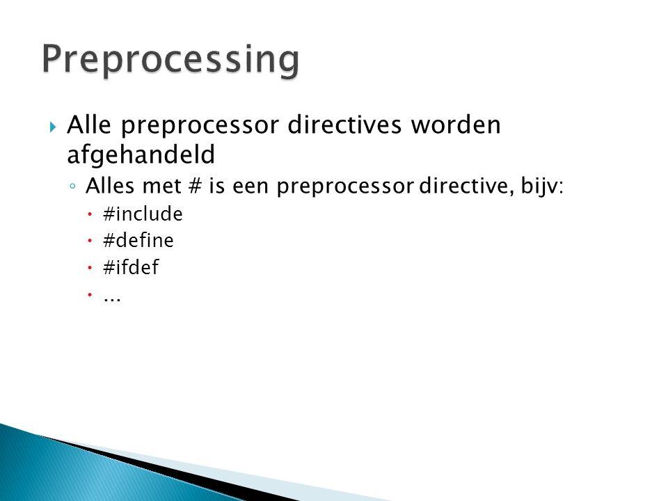  Alle preprocessor directives worden afgehandeld ◦ Alles met # is een preprocessor directive, bijv:  #include  #define  #ifdef ...