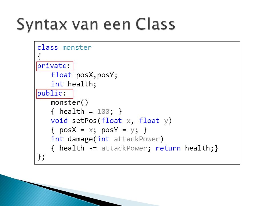 int main() { A *a = new A; cout<< Voor delete << endl; delete a; cout << Na delete << endl; return 0; } Output: Vanaf nu besta ik.
