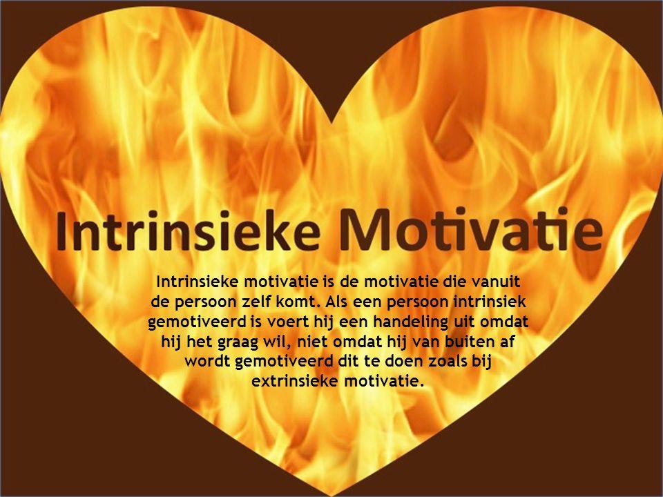 Intrinsieke motivatie is de motivatie die vanuit de persoon zelf komt. Als een persoon intrinsiek gemotiveerd is voert hij een handeling uit omdat hij