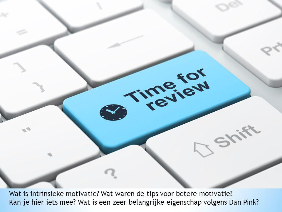 Wat is intrinsieke motivatie? Wat waren de tips voor betere motivatie? Kan je hier iets mee? Wat is een zeer belangrijke eigenschap volgens Dan Pink?