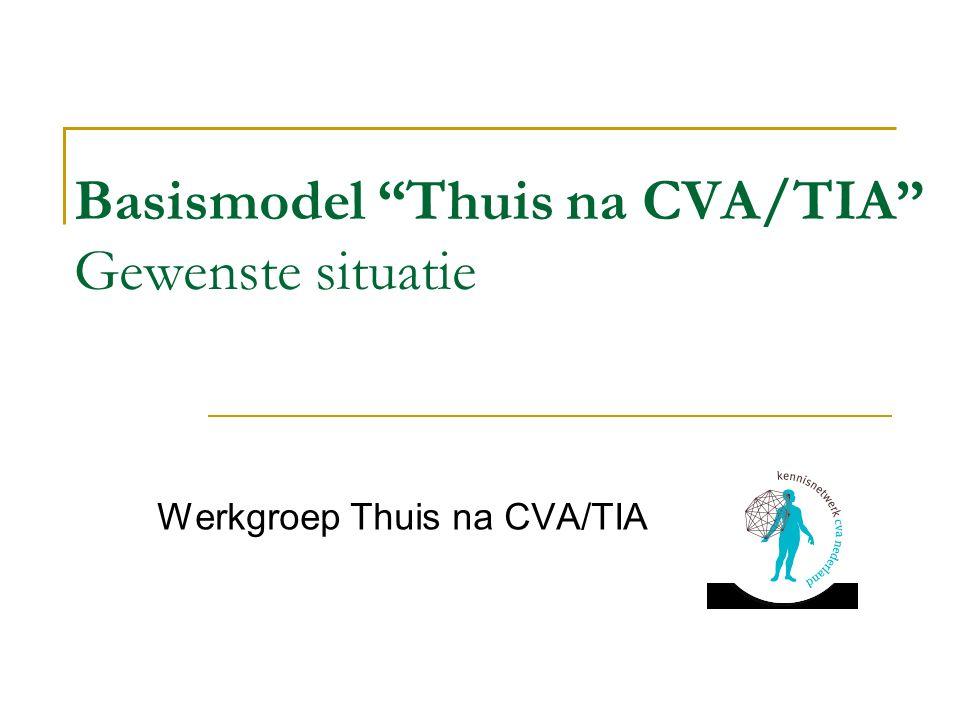 Basismodel Thuis na CVA/TIA Gewenste situatie Werkgroep Thuis na CVA/TIA