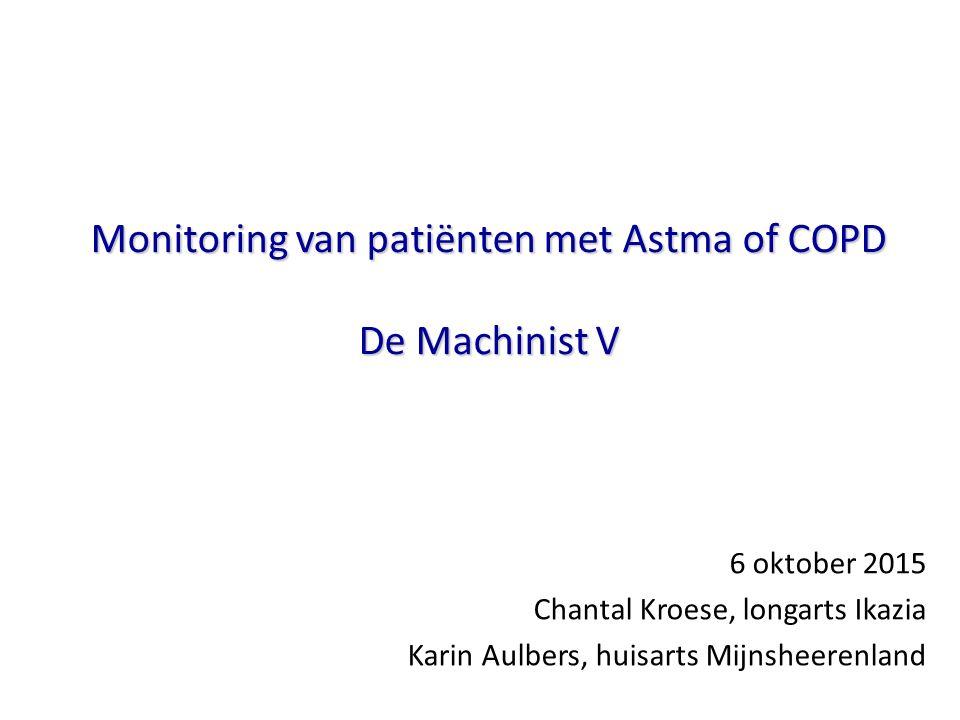 Monitoring van patiënten met Astma of COPD De Machinist V 6 oktober 2015 Chantal Kroese, longarts Ikazia Karin Aulbers, huisarts Mijnsheerenland