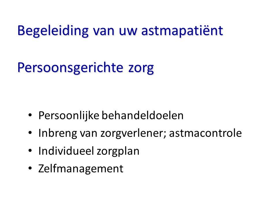 Begeleiding van uw astmapatiënt Persoonsgerichte zorg Persoonlijke behandeldoelen Inbreng van zorgverlener; astmacontrole Individueel zorgplan Zelfman