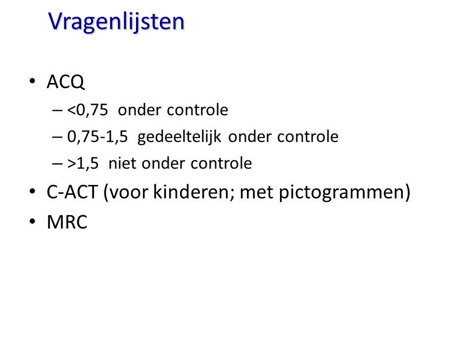 Vragenlijsten ACQ – <0,75 onder controle – 0,75-1,5 gedeeltelijk onder controle – >1,5 niet onder controle C-ACT (voor kinderen; met pictogrammen) MRC