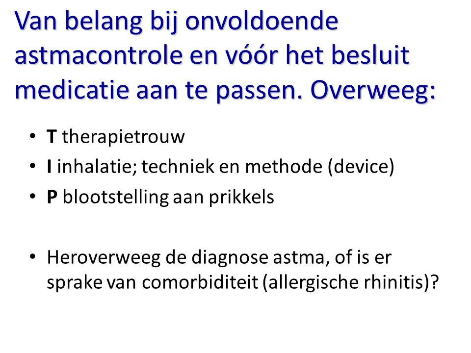 Van belang bij onvoldoende astmacontrole en vóór het besluit medicatie aan te passen. Overweeg: T therapietrouw I inhalatie; techniek en methode (devi