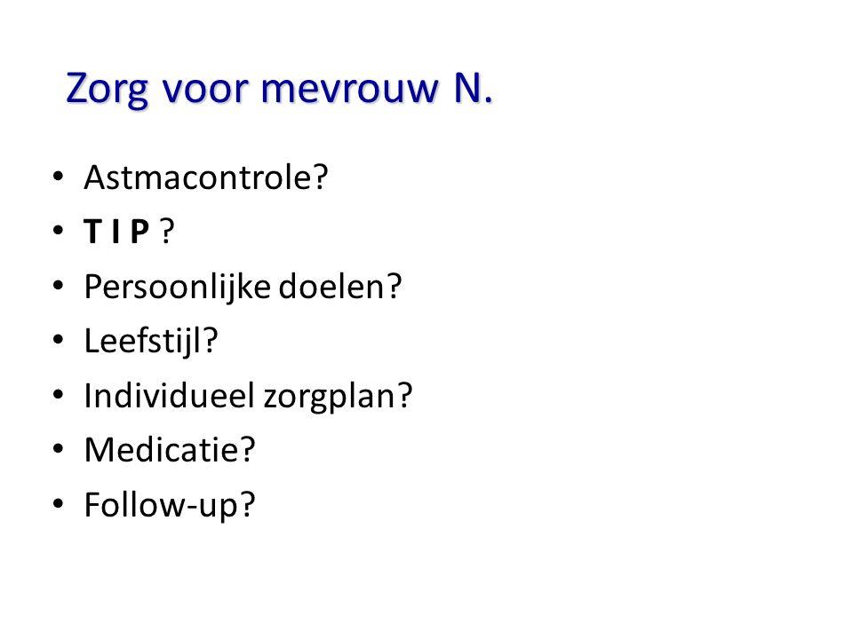 Zorg voor mevrouw N. Astmacontrole? T I P ? Persoonlijke doelen? Leefstijl? Individueel zorgplan? Medicatie? Follow-up?