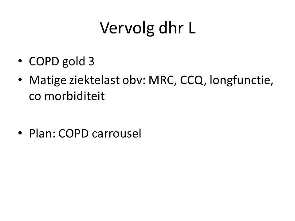 Vervolg dhr L COPD gold 3 Matige ziektelast obv: MRC, CCQ, longfunctie, co morbiditeit Plan: COPD carrousel