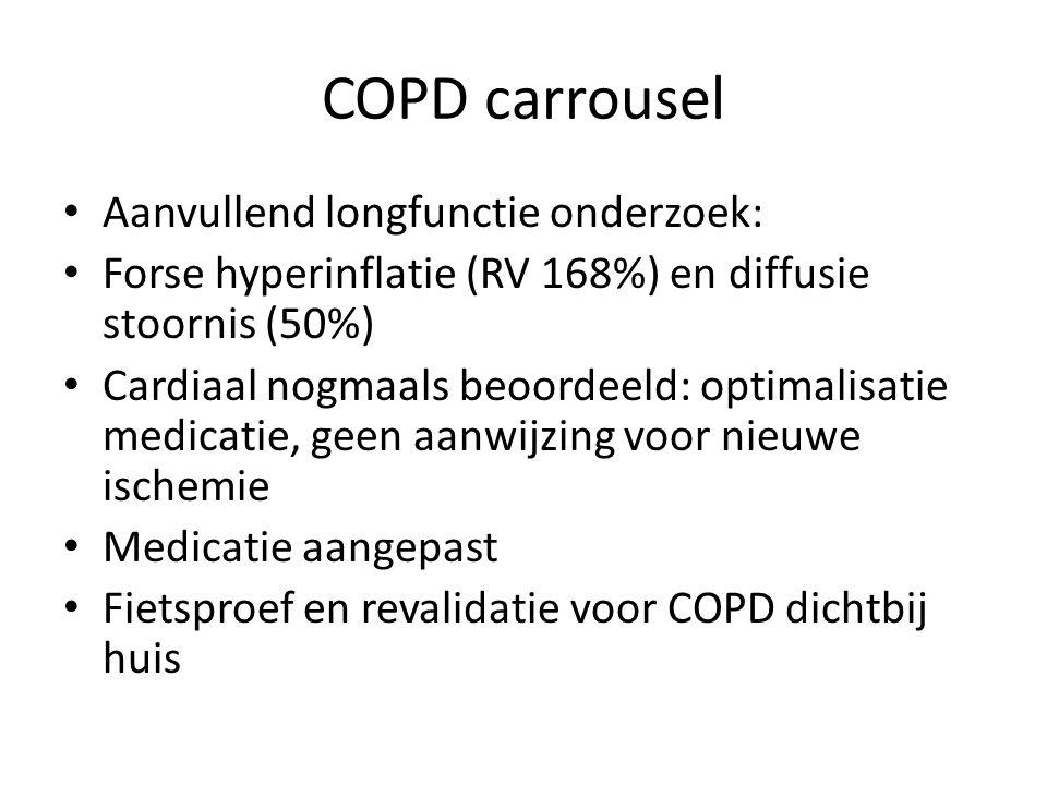 COPD carrousel Aanvullend longfunctie onderzoek: Forse hyperinflatie (RV 168%) en diffusie stoornis (50%) Cardiaal nogmaals beoordeeld: optimalisatie
