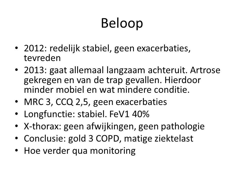 Beloop 2012: redelijk stabiel, geen exacerbaties, tevreden 2013: gaat allemaal langzaam achteruit. Artrose gekregen en van de trap gevallen. Hierdoor