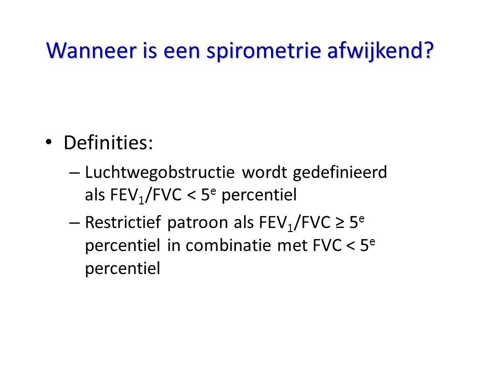 Wanneer is een spirometrie afwijkend? Definities: – Luchtwegobstructie wordt gedefinieerd als FEV 1 /FVC < 5 e percentiel – Restrictief patroon als FE