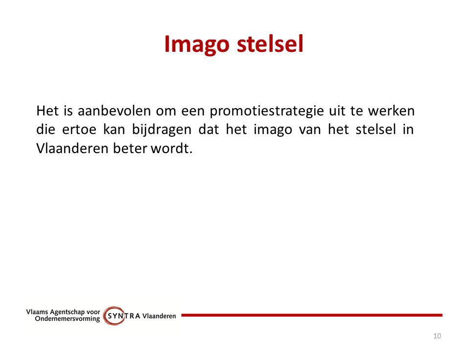 Imago stelsel 10 Het is aanbevolen om een promotiestrategie uit te werken die ertoe kan bijdragen dat het imago van het stelsel in Vlaanderen beter wordt.
