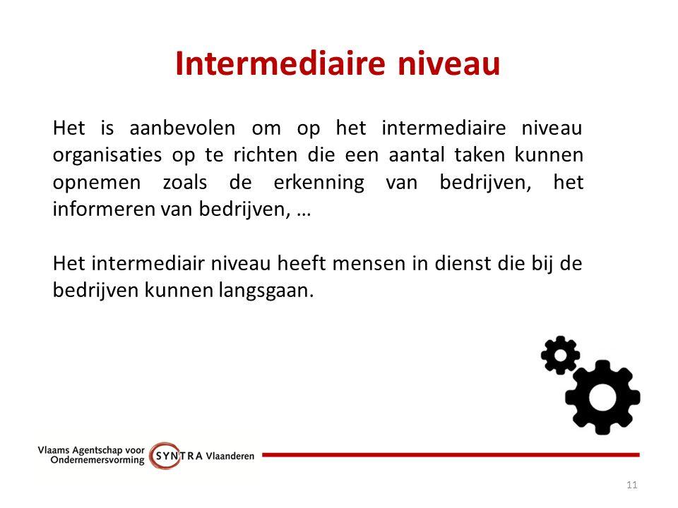 Intermediaire niveau 11 Het is aanbevolen om op het intermediaire niveau organisaties op te richten die een aantal taken kunnen opnemen zoals de erkenning van bedrijven, het informeren van bedrijven, … Het intermediair niveau heeft mensen in dienst die bij de bedrijven kunnen langsgaan.