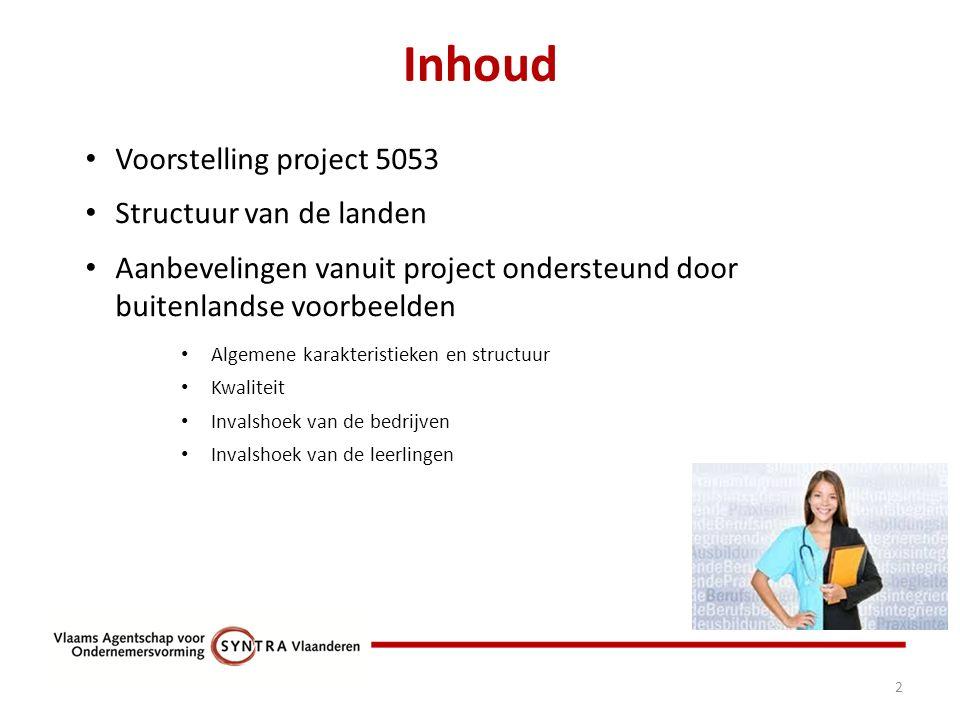 Inhoud 2 Voorstelling project 5053 Structuur van de landen Aanbevelingen vanuit project ondersteund door buitenlandse voorbeelden Algemene karakteristieken en structuur Kwaliteit Invalshoek van de bedrijven Invalshoek van de leerlingen