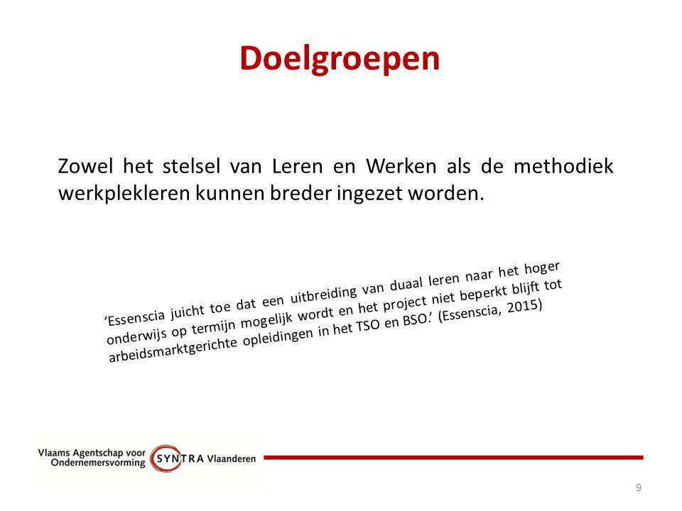 Doelgroepen 9 Zowel het stelsel van Leren en Werken als de methodiek werkplekleren kunnen breder ingezet worden.