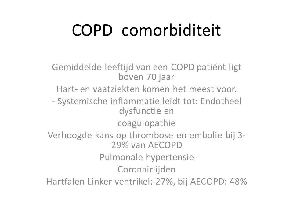 COPD comorbiditeit Gemiddelde leeftijd van een COPD patiënt ligt boven 70 jaar Hart- en vaatziekten komen het meest voor.