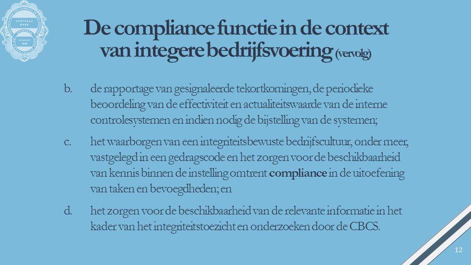 De compliance functie in de context van integere bedrijfsvoering (vervolg) b.de rapportage van gesignaleerde tekortkomingen, de periodieke beoordeling