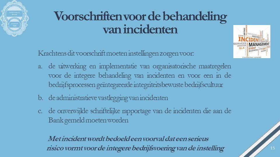 Voorschriften voor de behandeling van incidenten Krachtens dit voorschrift moeten instellingen zorgen voor: a.de uitwerking en implementatie van organ