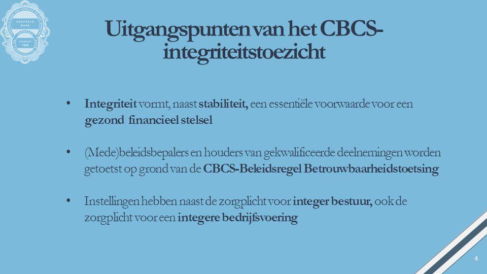 Uitgangspunten van het CBCS- integriteitstoezicht Integriteit vormt, naast stabiliteit, een essentiële voorwaarde voor een gezond financieel stelsel (