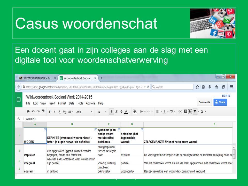 Casus woordenschat Een docent gaat in zijn colleges aan de slag met een digitale tool voor woordenschatverwerving Forum taalbeleid hoger onderwijs 19 mei 2015