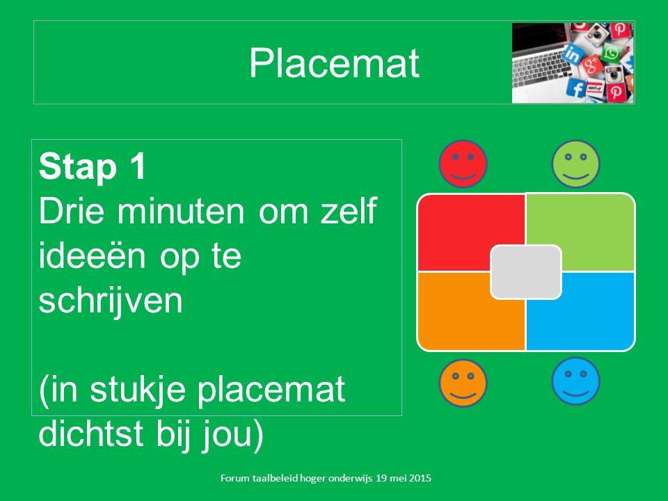 Placemat Stap 1 Drie minuten om zelf ideeën op te schrijven (in stukje placemat dichtst bij jou) Forum taalbeleid hoger onderwijs 19 mei 2015